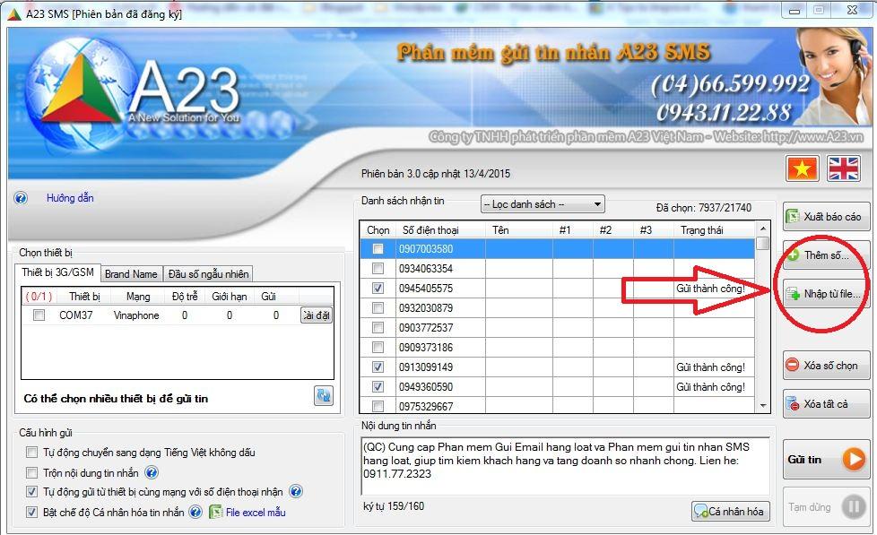 Hướng dẫn sử dụng phần mềm gửi tin nhắn hàng loạt A23