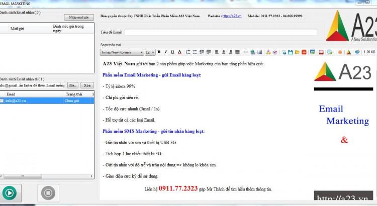 Phần mềm gửi Email miễn phí A23