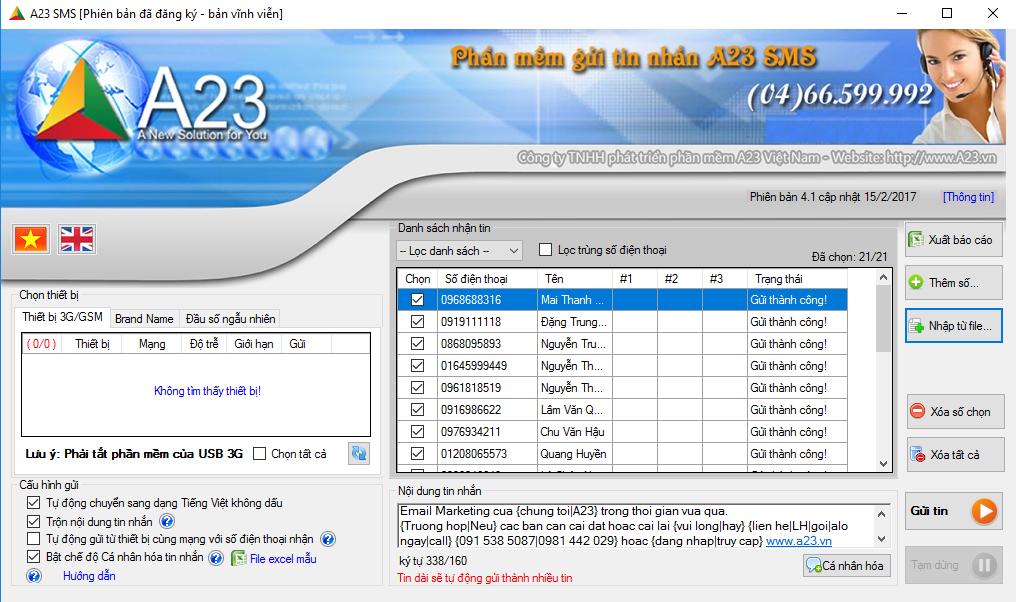 Phần mềm gửi tin nhắn hàng loạt A23