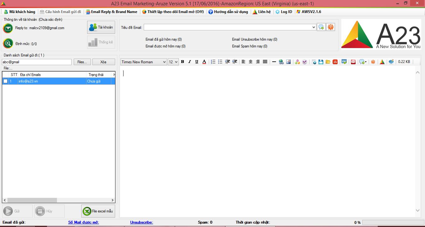 Dao diện phần mềm gửi Email hàng loạt A23